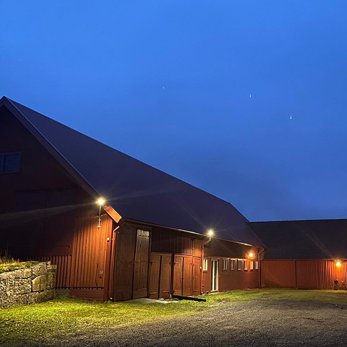 The paint barn at night