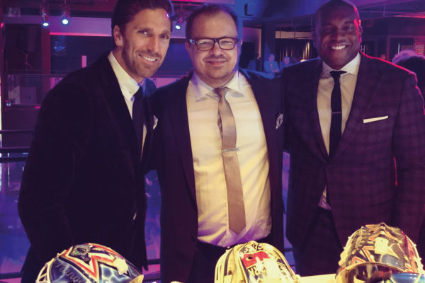 David Gunnarsson with Henrik Lundqvist and Kevin Weekes